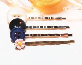 Stocking Stuffers - Bobby Pin Sets - Hair Pin Sets - Button Bobby Pin Sets - Button Hair Pin Sets - Pink Bobby Pin - Flower Bobby Pin