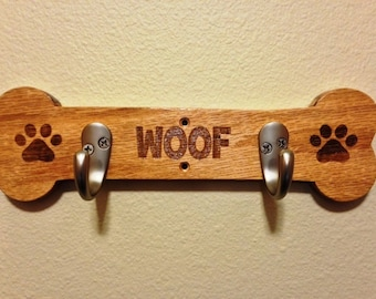 Solid Oak Dog Leash Hanger for 2 Leashes