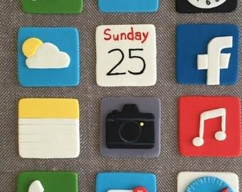 12 Apple iPhone themed fondant cupcake topper (safari, mail, app store, facebook, facetime, iMessage, Calendar, etc.)