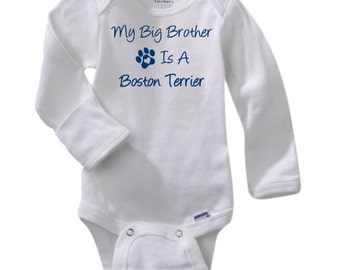 Boston terrier onesie etsy my big brother is a boston terrier gerber long sleeve onesie baby shower negle Image collections