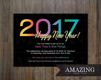 Items similar to 2017 New Year's Eve Invitation ...