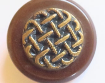 Large Bakelite Button with Metal Woven Pattern