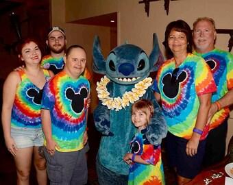 Mickey Mouse Inspired Tie Dye Rainbow Adult Unisex Tie Dye Shirt