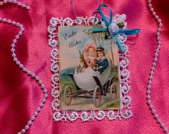 Vintage Style Victorian Easter Card Tree Ornament - Carriage Ride