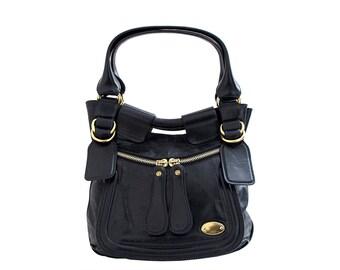 CHLOE Vintage Designer Handbag Shoulder Tote Everyday Bag Black Leather Bay Made in Italy
