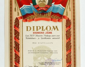 1956 Soviet Russian Vintage Sport Gratitude propaganda DIPLOMA BICYCLE racing REFEREE