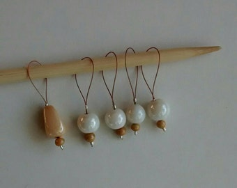 Stitch markers for knitting - White beads