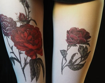 Roses tights, patterned pantyhose, tattoo nylons