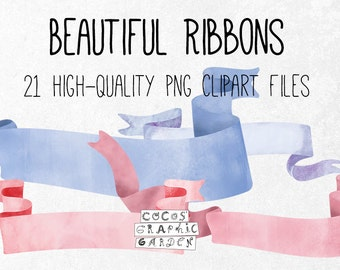 Beautiful Ribbons Set, high-quality vintage ribbons in nice colors, banners, great for wedding cards, party printables, instant download