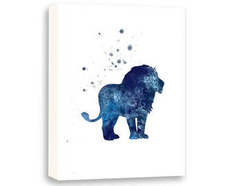 Lion Art, Boys Wall Art, Art For Kids, Boys Nursery Art, Animal Art, Limited Edition Gallery Wrapped Canvas - AS12003C