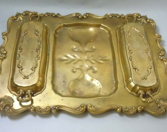 Rare 1880 Victorian W & SB Gold Wash Silver Plate Double Lid Serving Tray 181 Gilt Electro Plated W and SB