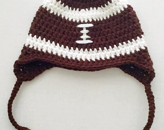 Football hat, baby football hat, handmade baby hat, newborn football hat, baby boy hat