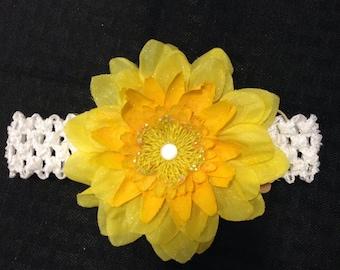 Yellow silk flower with white stretch headband