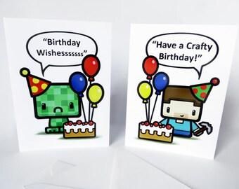 minecraft birthday  etsy, Birthday card