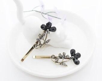Rhinestone Hair Clip black flower Hair Pin Bridal Hair Clip Bridal Bobby Pin Weddings