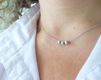 Delicate Silver Necklace, Modern Everyday Necklace With 3 Beads, Dainty Thin Necklace, Simple Choker Necklace, Minimalistic Jewelry