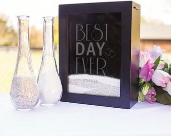 Best Day Ever Wedding Sand Ceremony Shadow Box with Date