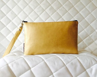 Wristlet Bag Antique Gold Faux Leather