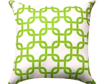 Green and White Pillow Cover - Chartreuse Green Pillow - Gotcha Chartreuse White Pillow Cover - Green and White Chain Link Accent Pillow