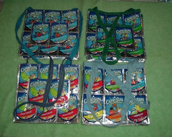 Capri Sun Juice Pouch/Bag Tote *Your Choice of 1 of Three different Totes with pockets *2 with 1 Long Shoulder Strap or *1 with 2 straps