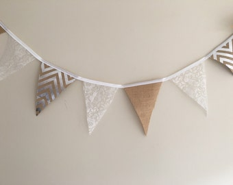 Fabric Bunting Wedding Engagement Flags Hessian Lace Vintage Rustic Chevron