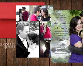 Classic Vertical Collage Wedding Invite, a traditional design with 6 pictures