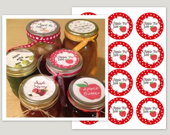 Homemade Apple Pie Jam Labels ~ Mason Jar tags ~Printable Stickers ~ Canning ~Wedding Favors ~ Instant Printable