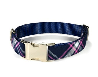 The Charleston Dog Collar, Navy And Pink Plaid Dog Collar, Preppy Dog Collar, Plaid Dog Collar, Tartan Plaid Dog Collar,  Pink Dog Collar