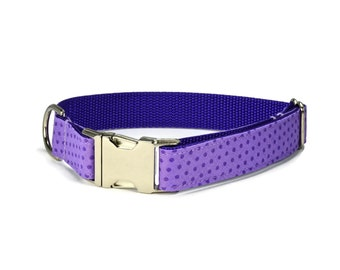 Purple Polka Dot Dog Collar, Adjustable Dog Collar, Nylon Webbing, Polka Dot Dog Collar, Fall Dog Collar, Colorful Dog Collar, Metal Buckle