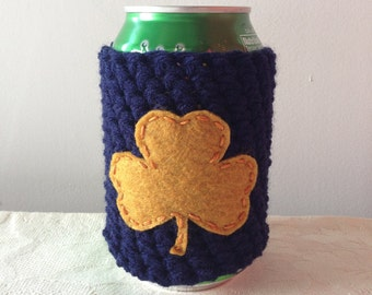 Notre Dame Shamrock | South Bend, Indiana State Beer Cozy, Crochet Coffee Cup Cozy, Bottle Cozy, Can Cozy by Maroozi