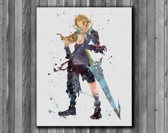 Tidus watercolor painting - Final Fantasy X Art Print, instant download, Watercolor Print, poster
