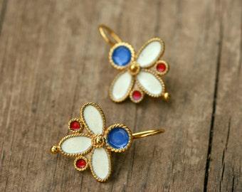 Gold Tribal Earrings, Gold Earrings, Gold Boho Earrings, Ethnic Gold Earrings, Bohemian Earrings, Enamel Earrings, Tribal Earrings