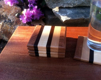 Square wood coasters set of 5