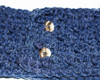 Crochet Big Blue Earwarmer Headband with Vintage Buttons