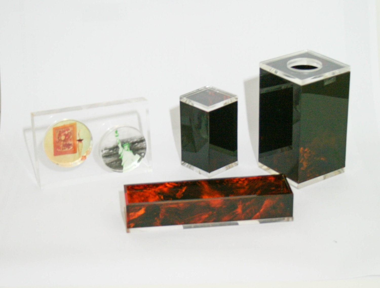 Vintage lucite desk office organizer - Acrylic desk organizer set ...