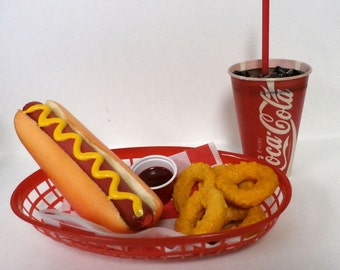 FAKE FOOD DIner car hop hot dog w/onion rings and coke basket Ships free in the usa