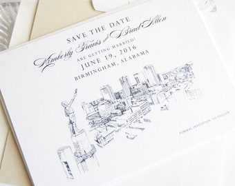 Birmingham Skyline Save the Date Cards (set of 25 cards)