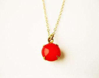 Round cherry drop necklace, small  dainty necklace, colorful, goralskie , goralsko bizuteria, polish highlanders, gorale, stroj goralski