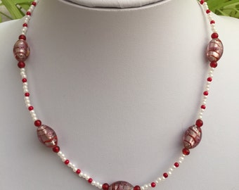 Handmade Red and Cream Beaded Necklace
