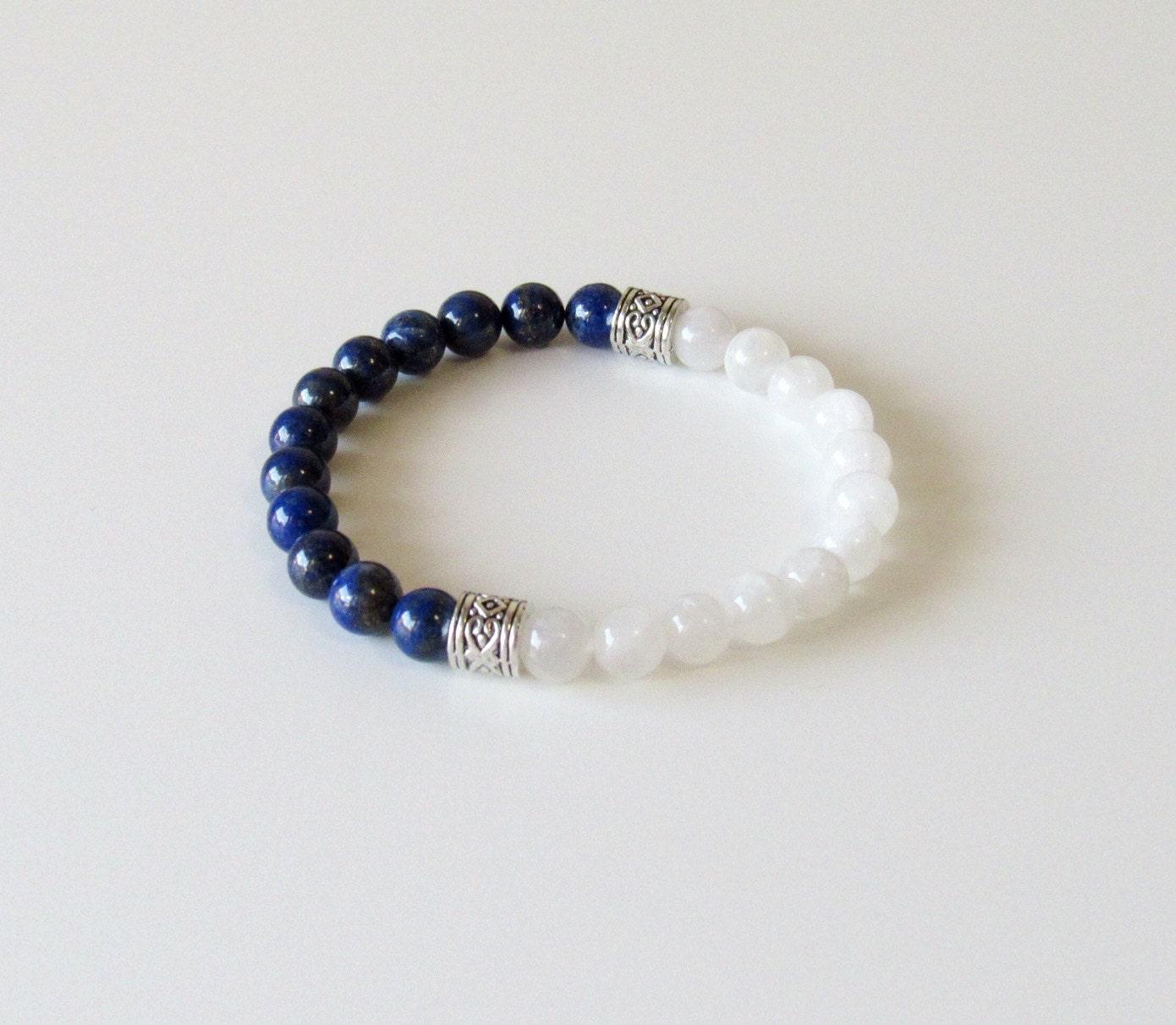 moonstone bracelet lapis lazuli bracelet yoga by bbtresors. Black Bedroom Furniture Sets. Home Design Ideas
