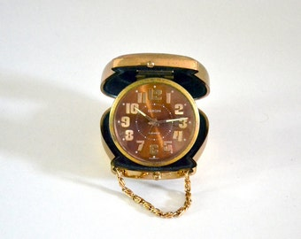 Mechanical alarm clock EUROPA 2 Jewels made in Germany / Vintage Travel Clock