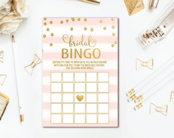 Pink Stripe Bridal Shower Bingo Game - Gold Confetti Bridal Bingo Cards - Printable Wedding Shower Game - INSTANT DOWNLOAD