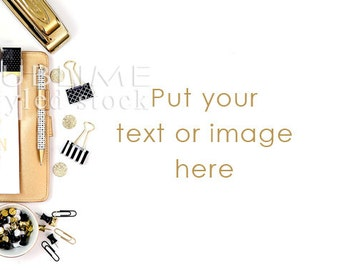 Styled Stock Photo / Planner / Styled Desktop / Desk Background / Styled Photography / gold / Stock Image / Mock up / StockStyle-758