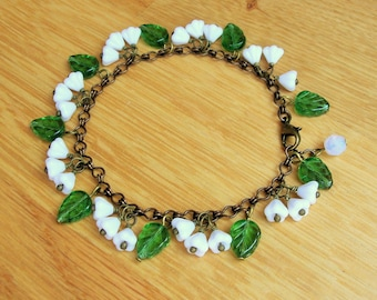 Lily of the valley bracelet, 1930's inspired glass flower bracelet.