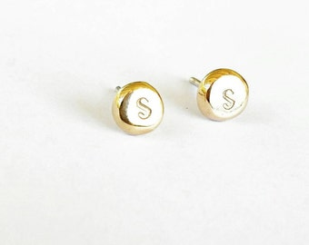 Monogram Personalised earrings organically custom made initial studs recycled 9ct Yellow gold or sterling silver XO