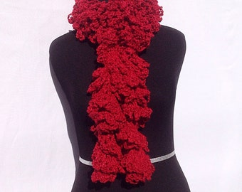 Curly Boa Scarf in Bright Red