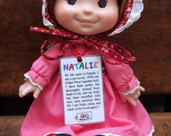 Near Mint 1970s Fisher Price Lapsitter Doll Natalie #202 - Restuffed and Clean!