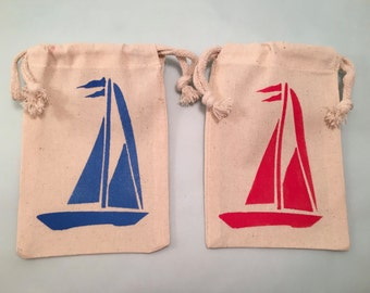 Red and Blue Sailing Boat Nautical Party Favor Bags in various sizes