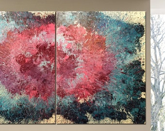 "SALE 32"" x 20"" Original Abstract Painting, Pink and Blue Original Art, Pink Abstract Painting, Blue Abstract Painting, Navy Abstract Art"