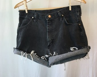 Vintage Black Wrangler Cut Off Jean Shorts W36 Made in USA